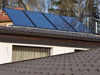 Solar collectors for hot water preparation in Kegums