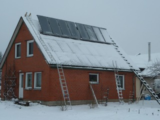 Vacuum solar collector system in Aluksne