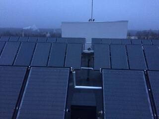 Solar collector system for hot water supply in Cēsis clinic