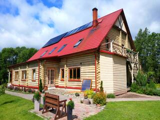 Solar collector system in the guest house ''Zaļā sala''